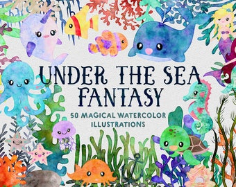 Watercolor Ocean Animals Fantasy Clipart | Digital Illustrations | Mermaid whale Plants Coral Jellyfish Crab Turtle Starfish Narwhal Graphic