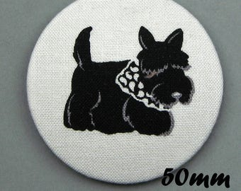 Fabric covered button - dog - Scottish Terrier - Scotties (50-02)