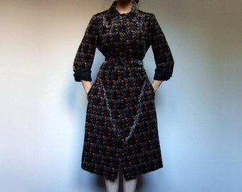 Vintage Long Sleeve Dress with Pockets 70s Winter Dress Floral Dress Women Collared Casual Dresses Fall Dress - Extra Large XL