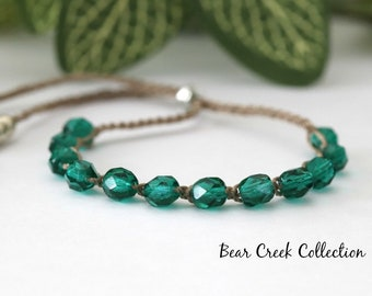 Teal Stacking Bracelet, Crochet Bead Bracelet, Bohemian Style Jewelry, Bohemian, Crochet Jewelry, Bead and Cord Jewelry