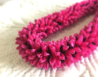 Hawaiian Ribbon Lei Graduation Chrysanthemum  Hotpink Wedding Gift