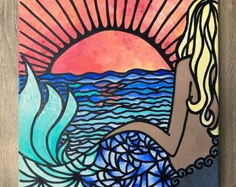 """Mermaid Sunset Ocean Acrylic Painting - 12""""x12"""" Canvas"""