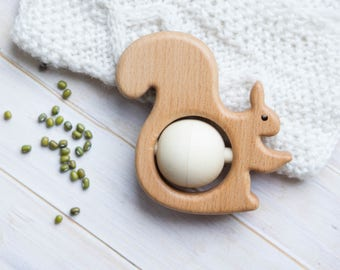 Traditional Wooden Rattle. Teething Toy. Natural Wooden Infant Toy. Eco Friendly Baby toy. Squirrel  rattle.  Newborn gift.