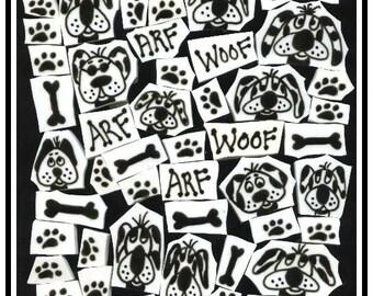 Mosaic Tiles Black N White SILLY DOG SET Mosaic Tile