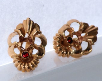 Vintage gold earrings 19.2k with ruby from Portugal