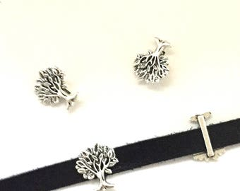 5 TREE of LIFE Slider Beads / Slide Beads / Bracelet Bead / Beads for Leather / Flat Leather Beads / Leather Charm / Slide Beads