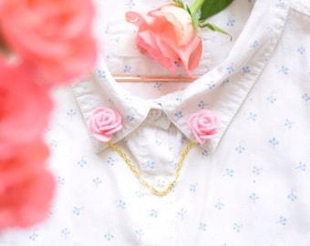 Pink felt flower collar pins with optional gold or silver chain | quirky handmade accessories