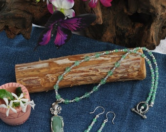 Green aventurine necklace earring set; green stone necklace; wire wrapped stone; green beaded necklace; green bead earrings