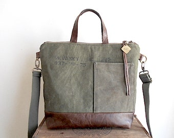 Military canvas & leather tote, crossbody tote bag - eco vintage fabrics