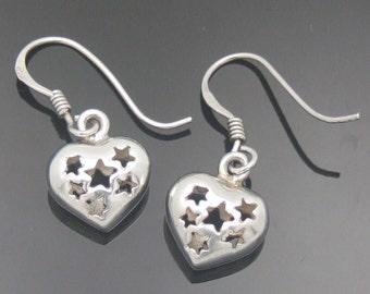 Valentine Heart Earrings Celestial Stars Sterling Silver Vintage Dangle Drops Dainty