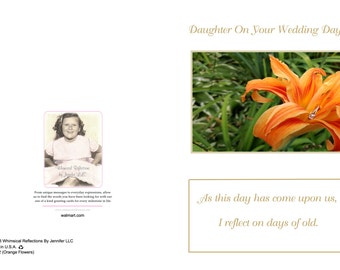 Daughter on your wedding day  (Orange Flowers) Wedding card, Mother to daughter wedding card, Special Occasion, Wedding card, Special card,
