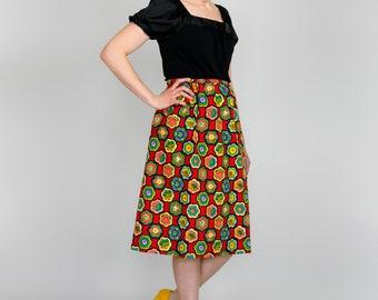 Vintage 70s Skirt • Psychedelic Print Red Floral Skirt • High Waist A Line Skirt • Novelty Print Cotton Skirt • Hippie Skirt • 1970s Skirt