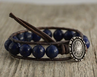 Chunky lapis lazuli bead bracelet. Rustic single wrap bracelet