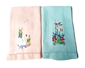 Antique Linen Fingertip Towels / Pair Hand Embroidered Swans and Ducks/ 1920s Trousseau/  Vintage Powder Room Decor