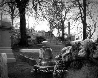 View of Laurel Hill Cemetery - Gothic Art Print - Cemetery Wall Decor - Goth Photograph