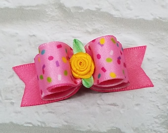 Pink Dog Bow, Confetti Dog Bow, Girl Dog Bow, Dog Bow with Flower, Show Dog Bow, Handmade Dog Bow, Pet Hair Bow, Grooming Bow