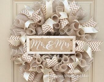Wedding Wreath, Bridal Wreath, Mr. And Mrs. Wreath, Burlap Wedding Wreath, Bridal Shower Decor, Wedding Door Wreath, Newlywed Wreath