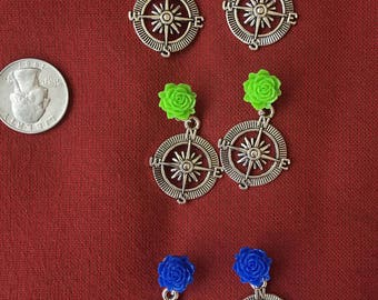Compass earrings! SHIPS IMMEDIATELY from USA! Gifts for her, gifts for travel and traveler!