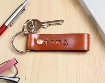 Name Leather Keychain, Personalized Leather Key Fob, Initial Custom Boyfriend Gift, Monogram Keychain, Monogrammed 3rd Anniversary Gift