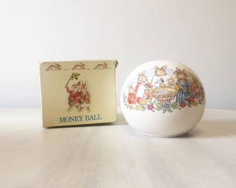Bunnykins coin bank, vintage money ball, Royal Doulton bank, vintage bunnykins, vintage money bank, baptism gift, new baby gift, piggy bank