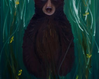 Bear Painting, What Do You See (Original Oil Painting), Medium Sized Painting