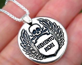 C1 -7, MEMENTO MORI skull necklace Sterling Silver jewelry pendant Crossbones Wings necklace Silver pendant Skull jewelry Wax seal N-144