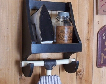 Ironing Board Storage Shelf for the Laundry Room Wooden Primitive Farmhouse Cubby Shelf Iron Holder Storage Lamp Black / Color Choice