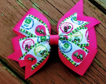 Tractor Hair Bow, Country Girl Hair Bow, Sassy Southern Charm