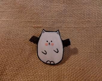 Kawaii Bat Cat, Kitty Bat, Kawaii Mutant Cat, Mutant Kitty, Bat Kitty Cat, batcat jewelry, bat jewelry, bat pin brooch, cute bat jewelry