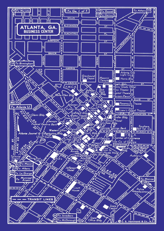 Atlanta map map of atlanta georgia blueprint map print zoom malvernweather Images