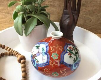 Asian Gold Trim Bud Vase • Porcelain Vase • Asian Vase with Blossoms • Bud Vase • Asian Porcelain Jar