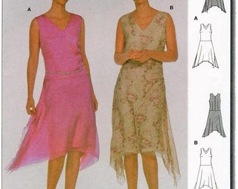 Misses' Sleeveless Dress sizes 10-20 with V Neck and Shaped Hem Burda 8648 Sewing Pattern