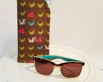 Backyard Chicken Sunglass Case, Monogrammed Cases Oversized glasses, Personalized Farmhouse Sunglass case, Eyeglass Case, Eye Glass sleeves