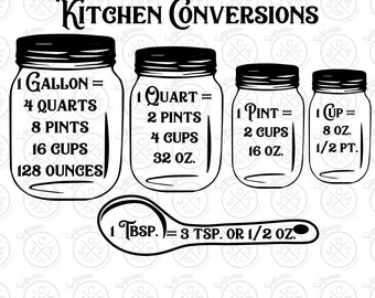 Kitchen Conversions SVG DXF JPEG - Kitchen Decor, Measurements, Cooking - Silhouette/Cricut Cut File