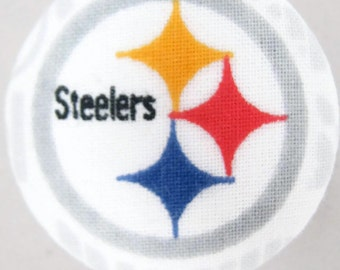 Fabric Covered Retractable Badge Reel Pittsburgh Steelers