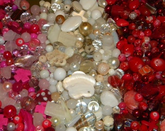 NEW GLASS 6/oz lot of Pink/ White /Red Large Mixed Loose lot of Beads Random sizes 6-20mm Glass, shell, lampwork, stone and gem