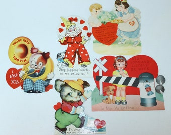 Vintage Mechanical  Valentine Collection 1940's 1950's Railroad Tuba Clown Set of 5