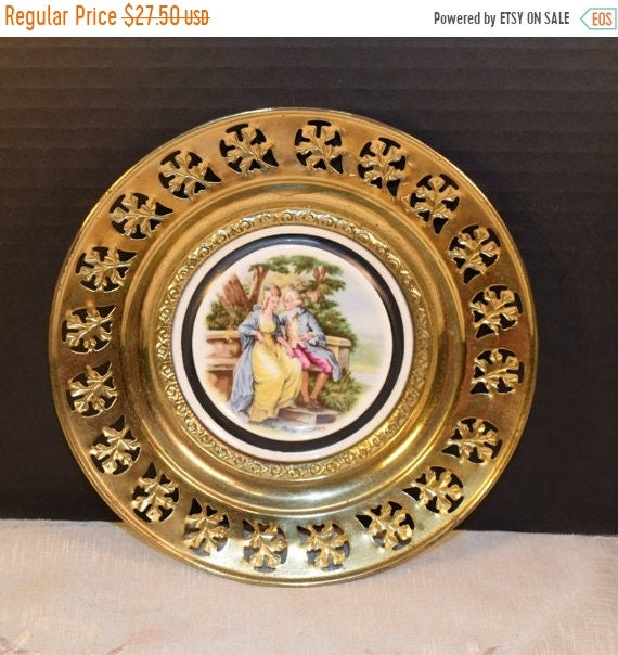 Delayed Shipping Love Story Regency Bone China Brass Wall Plate Vintage Courting Couple Brass Framed Plate English Tavern Pub Decor Made in