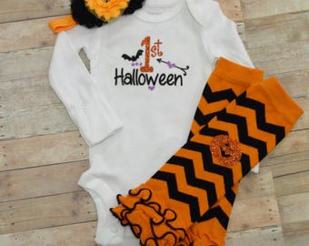 Girls 1st Halloween Outfit, Baby Girls Halloween Outfit, Newborn Halloween Outfit, Glitter Pumpkin, Girls Fall Autumn Photo Shoot Outfit,