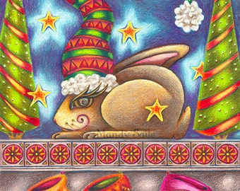 """And To All A Good Night - 8 x 10"""" ART PRINT with a sweet sleeping rabbit on a fireplace mantle with Xmas socks in celebration of Christmas"""