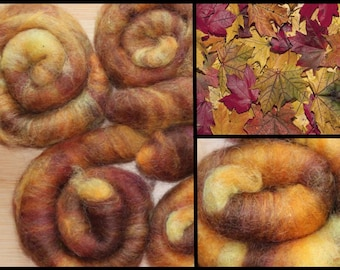 Rolags 36g Alpaca Blend of Autumn colors Yellow Orange Brown Five Rolls for the Money