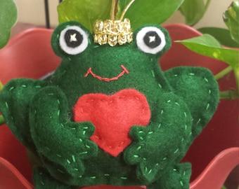Felt Handsewn Frog Ornament Prince Heart Valentine Love