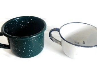 Vintage White with Blue Trim Enamelware Mug OR Green Speckled Graniteware Cup -CHOICE-rustic,country kitchen,camping,farmhouse,cottage,metal
