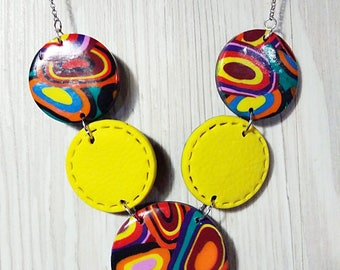 Necklace colored fantasy 70's style, fimo, polymer clay