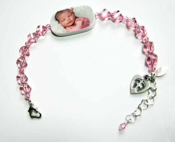 Custom Crystal Bracelet, Lg. Photo Charm - P1RB13a
