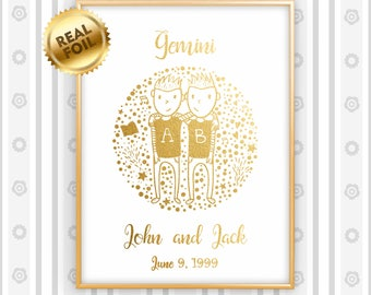 Personalized Gemini Zodiac Gold Print, Real Gold Foil Print, Baby Shower Gift, Newborn Gift, Nursery Wall Art, Child Room, GoldenGraphy