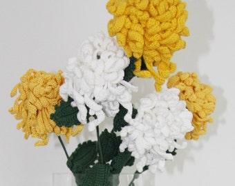 Crochet Chrysanthemum (WHITE)