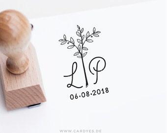 Custom wood stamp • Wedding monogram • Wedding logo • DIY wedding • Round wood stamp which a handle