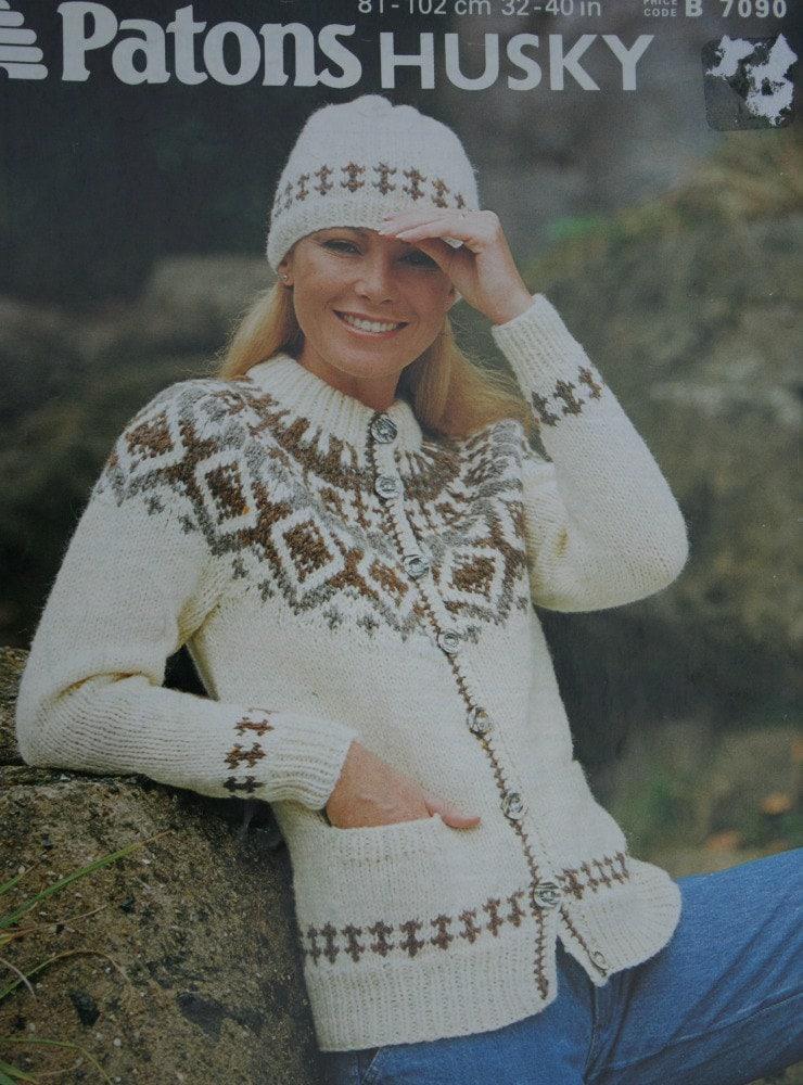 Cardigan Knitting Pattern Husky Patons B 7090 Hat Sweater Nordic ...
