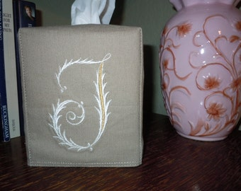 "Tissue Box Cover -  Made To Order - Monogrammed Linen Tissue Cover Special French ""J"" Lettering"